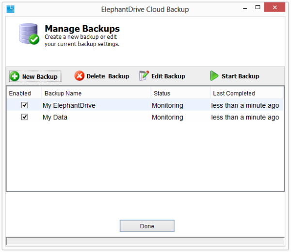 ElephantDrive manage backups screen