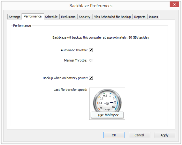 Backblaze performance settings