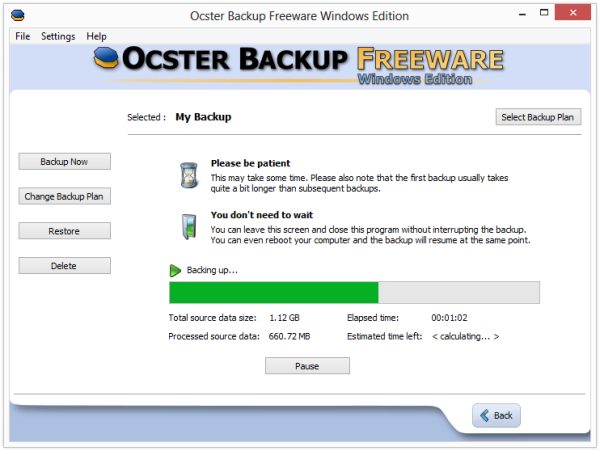 Ocster backing up my files