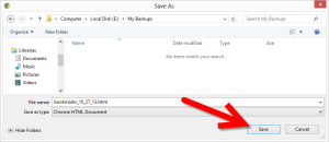 Save your exported bookmarks to a backup drive