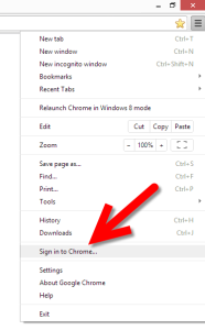 Click Sign in to Chrome