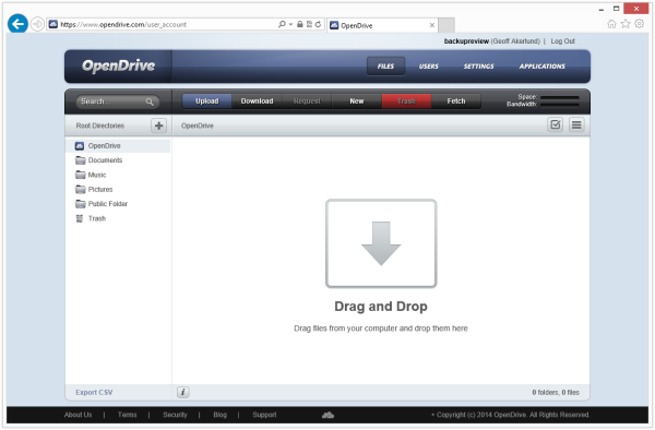 OpenDrive web interface